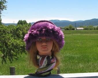 Knit Felt Amythyst Purple Lilac Wool Fur Trim Hat  Crusher