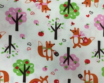 50% off SALE - Forest Foxes - FLANNEL - Fabric - BTY