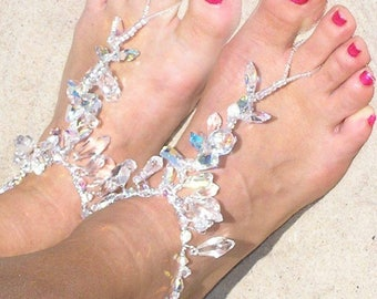 Barefoot Sandals-Anklet-Beach Wedding Barefoot Sandals-Swarovski Barefoot Sandals-Barefoot Sandals Boho-Foot Jewelry-Shoes-Jewelry