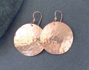 Hammered 14k Pink Gold Filled Disc Earrings 14k Rose Gold Filled Round Dangle Earrings Artisan Handmade Modern Metal Jewelry