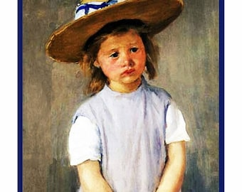 Sweet Sale Young Girl in a Straw Hat Inspired by Impressionist Painter Mary Cassatt Counted Cross Stitch Chart