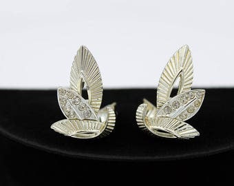 Marboux Earrings - Modernist Leaf Design, with Clear Rhinestones