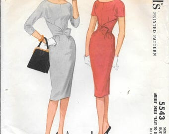 Vintage 1960s McCall's 5543 Slim Wiggle Dress Sewing Pattern Size 16 Bust 36