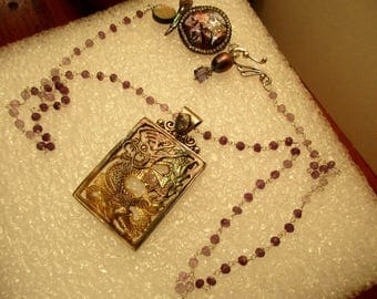 Divine Vintage Hand Carved ABALONE Shell DRAGON Pendant in STERLING Setting on Amethyst Rosary Chain w/Peacock Baroque Pearl, Crystal Clasp