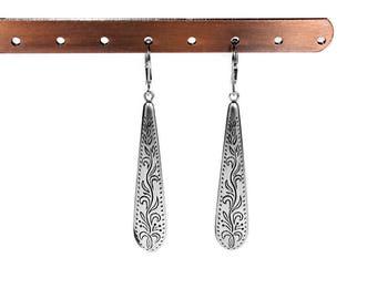 Victorian Dangle Silver Earrings, Etched Drop Earrings, Downton Abbey Ear Wires,Gatsby Earrings 1920s, Gypsy Boho Drops - Steampunk Boutique