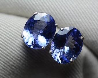 Tanzanite Earrings, 6.94 Carat Tanzanite Stud Earrings, Oval Cut, Sterling Silver, IGI Certified, Anniversary Birthday Christmas Present