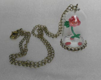 Beauty and the Beast inspired Enchanted Rose in Glass dome 24 inch Pendant Necklace.