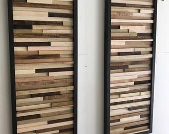 Wood Wall Art - Wood Art - Reclaimed Wood Art - 2pcs 12x32 Set