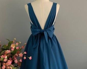 Flash SALE Dark blue dress blue party dress blue prom dress blue cocktail dress bow back dress blue bridesmaid dresses dark blue backless dr