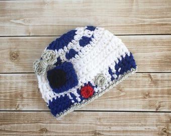Girl R2D2 Inspired Hat/ R2D2 Costume/ Star Wars Inspired Hat Available in Newborn to Child Size- MADE TO ORDER