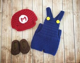 Super Mario Inspired Costume/Crochet Mario Bros. Costume/ Mario Inspired Photo Prop Newborn to 12 Months- MADE TO ORDER