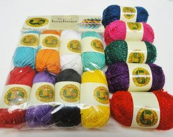 Lion Brand Yarns, Bon Bon Yarns, Metallic Yarn, Crayon Color Yarn Mini Packs, Novelty Yarn, 13 Balls