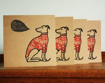 Linocut Cards Set of Four, Whippet in Christmas Jumper, Original Christmas Hand Printed Card, Blank Greeting Card, Free Postage in UK,