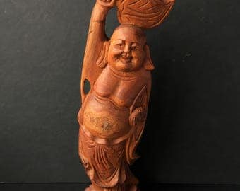 Vintage Buddha Woodcarving Carved Wood Sculpture Statue Wooden Asian Chinese Home Decor