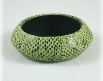 Chunky Wide Green Suede Snake Skin Bangle,  Snakeskin Bracelet, Large Bangle, Moss Green, Olive Green Bangle