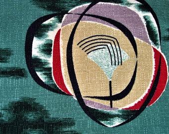Patrón de Jubileo en jadeíta VTG Aqua corteza tela cortina cortina de los años 50 MCM Rancho atómica cortinas Mod Retro Florida Kitsch