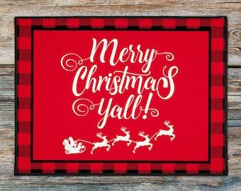 Buffalo Plaid Christmas Welcome Mat, Custom Door Mat Monogrammed Doormat, Holiday Welcome Mat, Merry Christmas Y'all