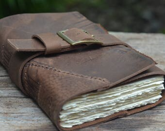 "Rudely Rustic ROUGH & SMOOTH: One-of-a-kind Leather Journal, handmade, 5X7"", Rustic, LINED or plain"