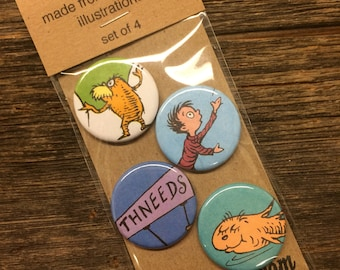 The Lorax upcycled/recycled magnet set (4)