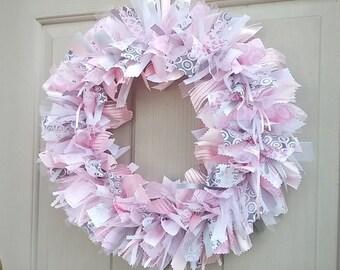 Baby Wreaths, Baby Girl Shower, Newborn Girl Hospital Door Hanger, Pink Gray Nursery Decor, Baby Shower Decor, Baby Girl Decor, New Mom Gift