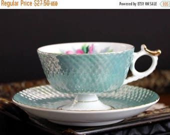 ON SALE Cherry China, Tea Cup, Vintage Cup and Saucer, Pearlized Teacups, Bone China, Japanese Cups 13899