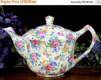 ON SALE Chintz Tea Pot,  Antique Teapot, James Kent LTD Rosalynde, Made in England 12909