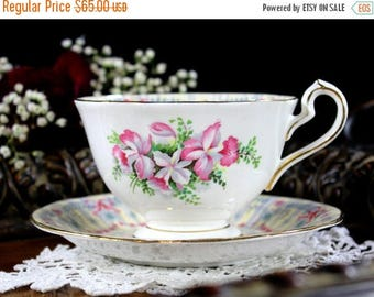 ON SALE Queen Anne Royal Bridal Gown Teacup and Saucer, Brides Tea Cup and Saucer 13113