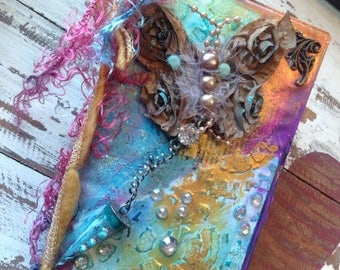 """Original Mixed Media 2017 Weekly Planner and Art Piece """"Simply Butterfly"""" 3.75"""" x 7"""""""