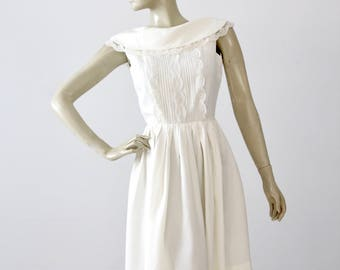 vintage 60s white party dress by Candy Jrs., lace mini dress