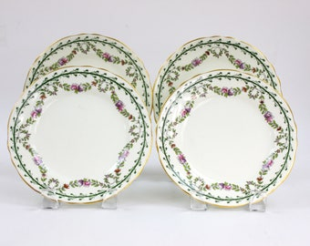 Vintage English Plates, SET of 4, Dessert/Appetizer/Salad Plates, Floral Garland Pattern with Gold Trim, Aynsley China Plates, c1900