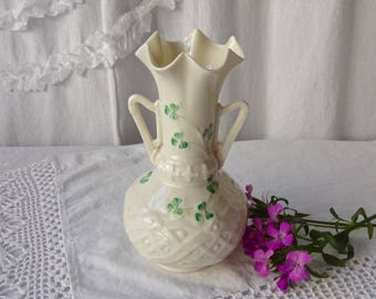 Vintage Belleek Vase Ireland Seventh Mark 1980s