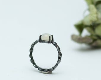 Moonstone Silver Ring- Sterling Silver- Free Shipping Worldwide