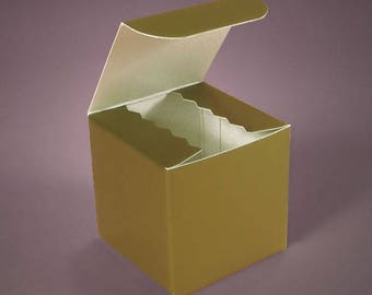 Set of 10 3X3X3 inch Gold Favor Boxes for Weddings Showers or Birthdays - Cupcake Boxes - Candy Boxes