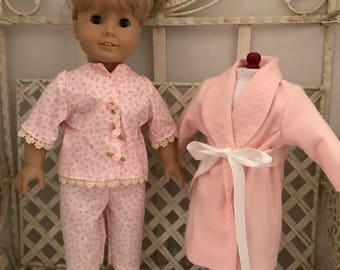 Pajamas and Robe for American Girl Doll or 18 Inch Doll
