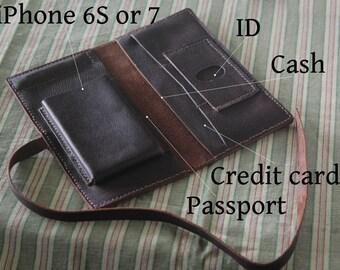 Full-grain Leather Travel Wallet,Passport Holder,iPhone Wallet,Traveler organizer,Multiple Passports Holder,Passport Wallet,Traveler Gift