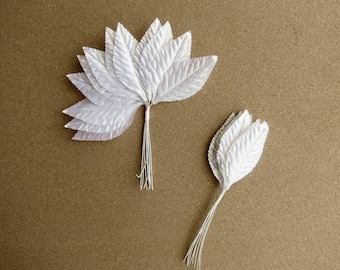Corsage Leaves, White Leaves, 24 Leaves, 2.75 Inches, Pearlescent Corsage Leaves, Floral Supplies, Millinery Leaves,  Wired Leaves