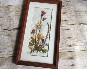 Small Vintage Picture Frame with Dried Flowers