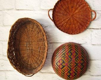 Vintage Geometric Basket Wall Hanging Red and Black Basket
