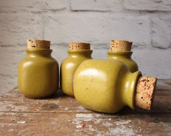 4 Small Stoneware Crocks with Cork Vandor Imports Lidded  Jar