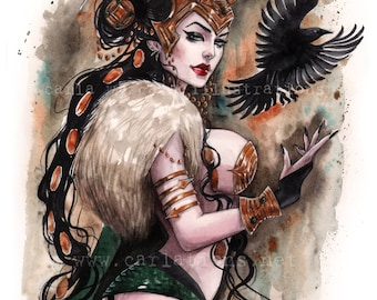 Lady Loki Thor Ragnarok Burlesque lingerie Pin Up watercolor Art print by Carla Wyzgala Carlations