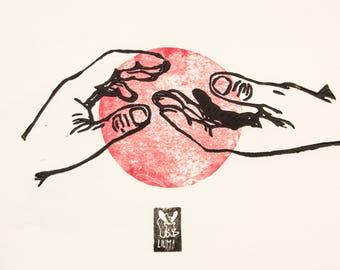 """LINOCUT PRINT-   """"Waiting -part II""""- artistic print- gift for art lover- red version"""
