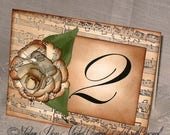 New Year Sale Custom listing for Melody French Vintage Style Music Notes Sculpted Flowers, Luxury Table Numbers, place card, Original Design