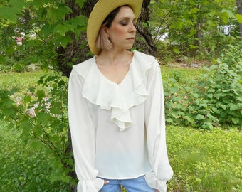vtg 90s creamy white ruffle collar blouse, semi sheer,  poet blouse / s / m