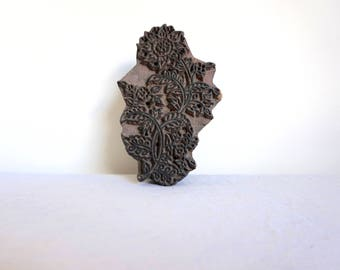 Wooden Textile Stamp Botanical Kalamkari Stamp Woodblock Print Block