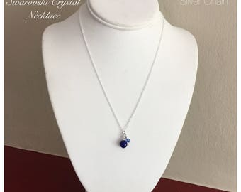 "Lapis Lazuli Pendant Necklace with Swarovski Crystal color of your choice and 18"" (45.72cm) silver chain, handmade by Anna"