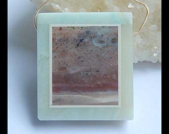 Ocean Jasper,Amazonite,White Jade  Intarsia Pendant Bead,36x32x7mm,19.6g(h0035)