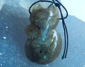Carved Labradorite Fox Gemstone Pendant Bead,35x21x7mm,8.2g(Cp054)
