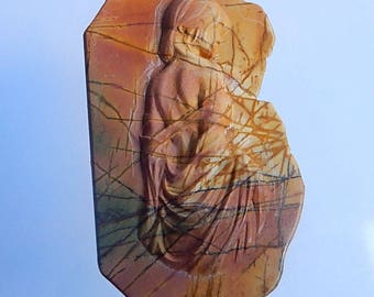 New,Carved Multi-color Picasso Jasper Woman Pendant Bead,68x41x8mm,31.8g(Cp036)