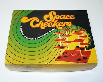 1971 Space Checkers Game by Pacific Game Company – Hollywood CA – Rare Vintage 3D Board MCM