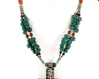 Tibetan Cross Necklace Turquoise Color Beads Silver Repoussee 117774